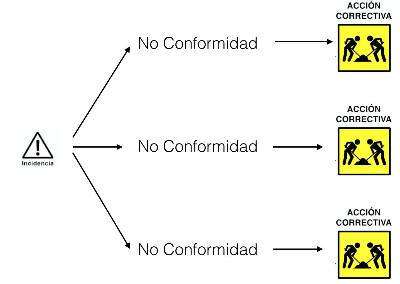 No conformidades y acciones correctivas y sus relaciones