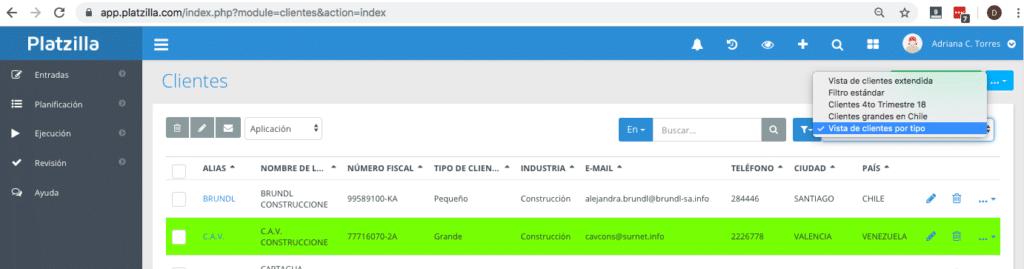 Creación de Listas filtradas en los módulos en Platzilla