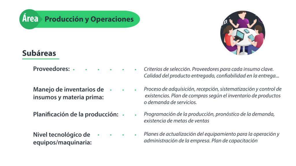 Descripción del área funcional Producción y operaciones