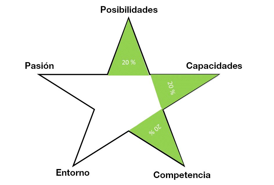 Porcentaje acumulado para la matriz estrella: 60 %  (¿Será un emprendimiento rentable?).