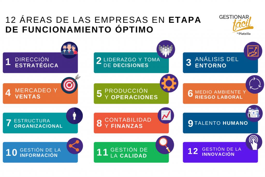 Esta imagen muestra 12 áreas típicas, presentes en empresas maduras.