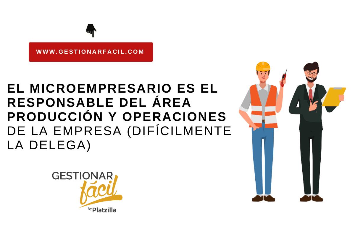 El microempresario es el responsable del área producción y operaciones de la empresa (difícilmente la delega)