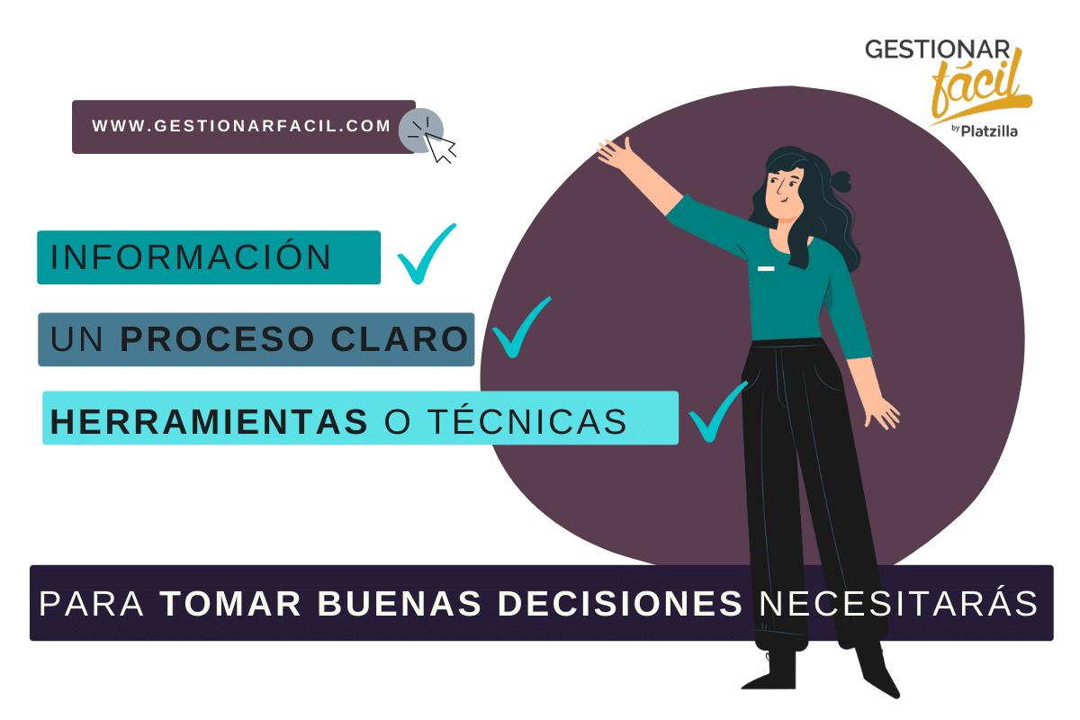 Para tomar buenas decisiones necesitamos: información, un proceso claro y herramientas o técnicas.