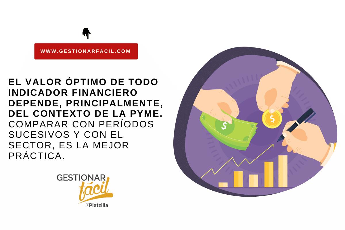 El valor óptimo de todo indicador financiero depende, principalmente, del contexto de la pyme.