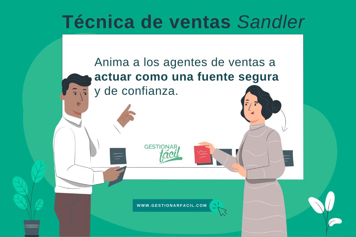 Técnica de ventas efectivas: Sandler. Anima a los agentes de ventas a actuar como una fuente segura y de confianza.