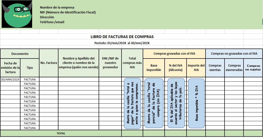 Plantilla con Excel del libro de compras