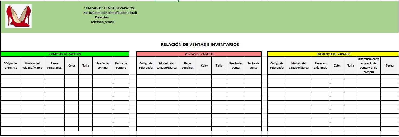 Relación de ventas e inventarios con Excel para una tienda de calzados