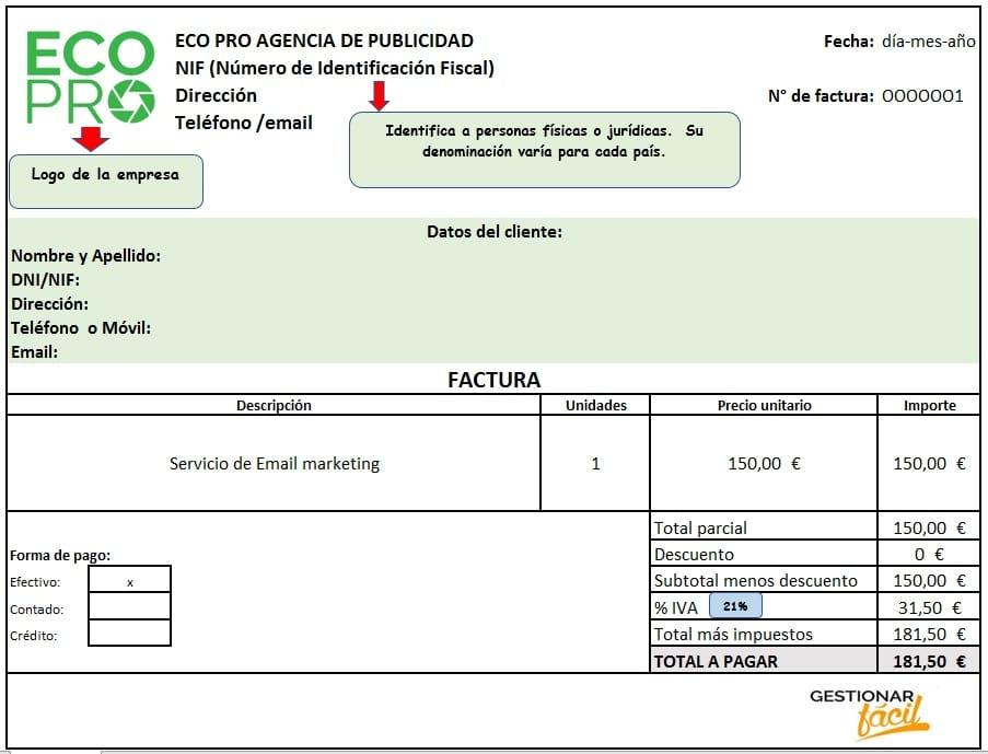 Modelo de factura para agencias de publicidad
