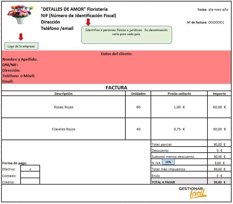 Modelo de factura. contabilidad con Excel para una floristería