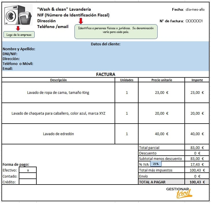 Modelo de factura para lavandería