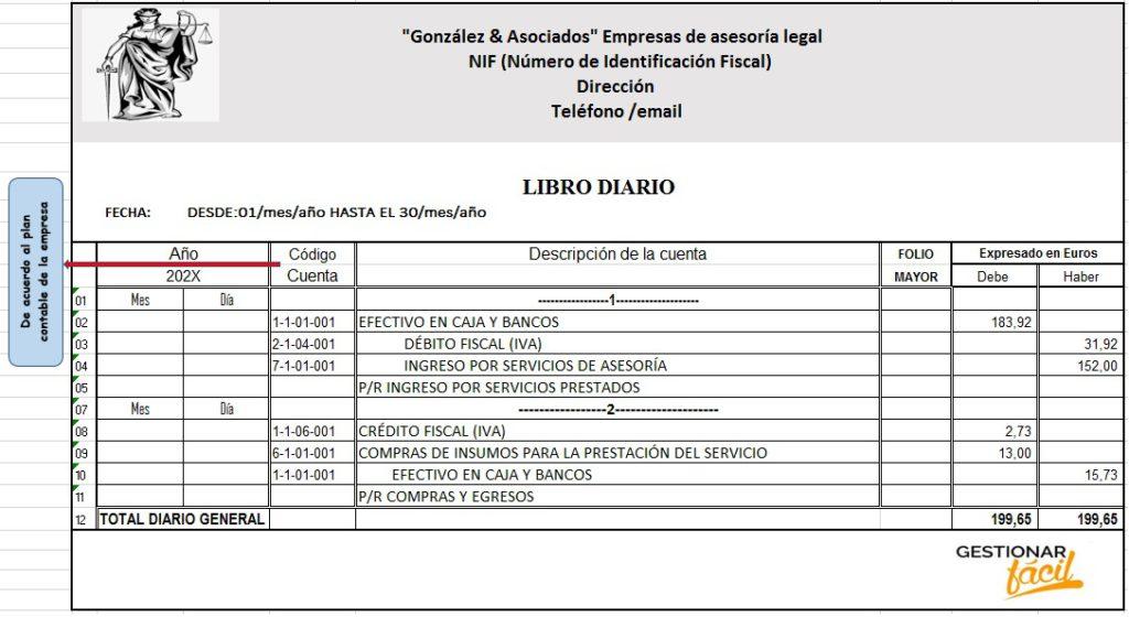 Modelo de libro diario para una empresa de asesoría legal.