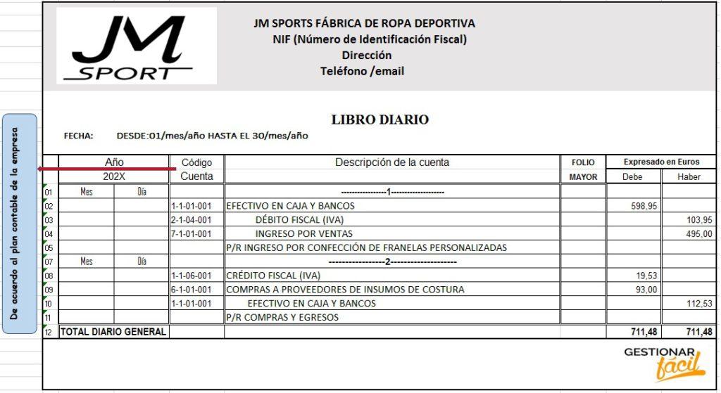 Modelo de libro diario para una fábrica de ropa deportiva.
