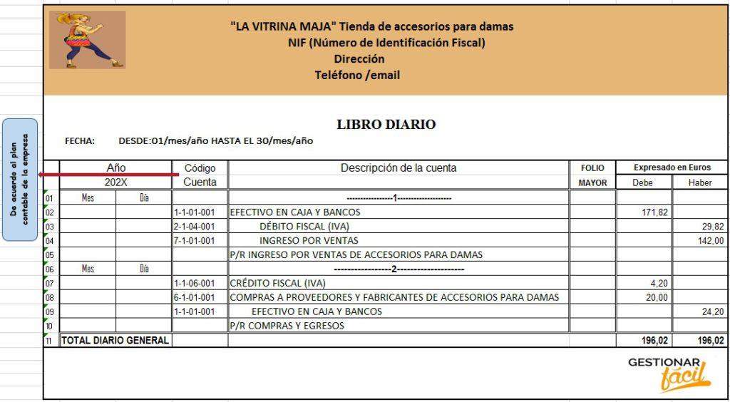 Modelo de libro diario con Excel