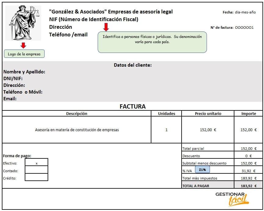 Modelo de factura para empresas de asesoría legal.