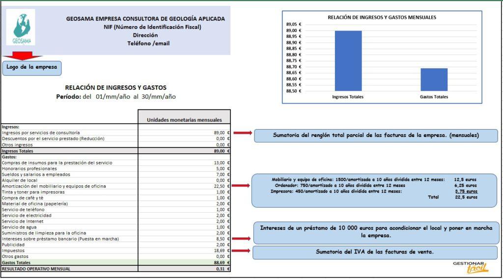 Relación de ingresos y gastos en consultoras de geología aplicada