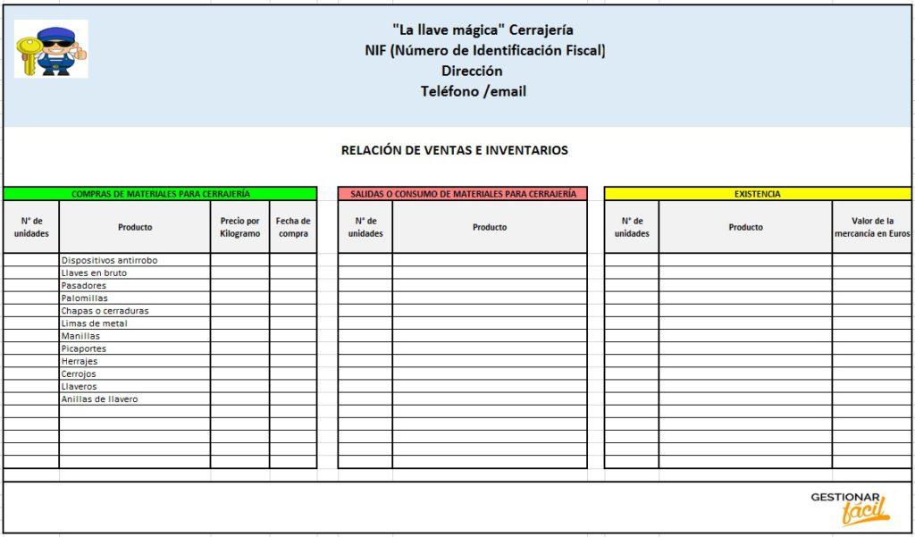 Contabilidad con Excel para una cerrajería: Relación de ventas e inventarios.