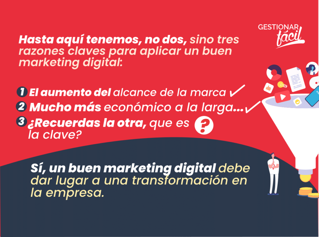 Un buen marketing digital debe dar lugar a una transformación en la empresa.