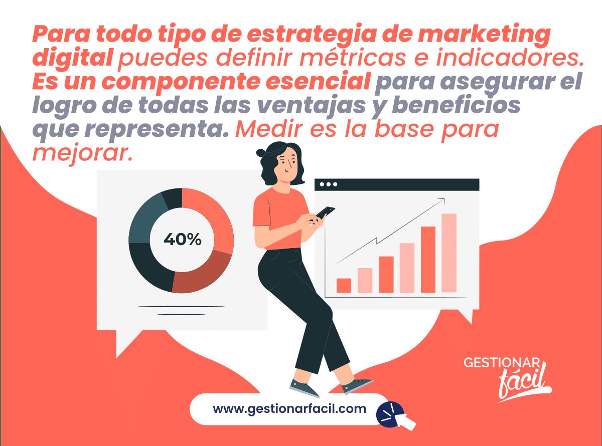 Para todo tipo de estrategia de marketing digital puedes definir métricas e indicadores.
