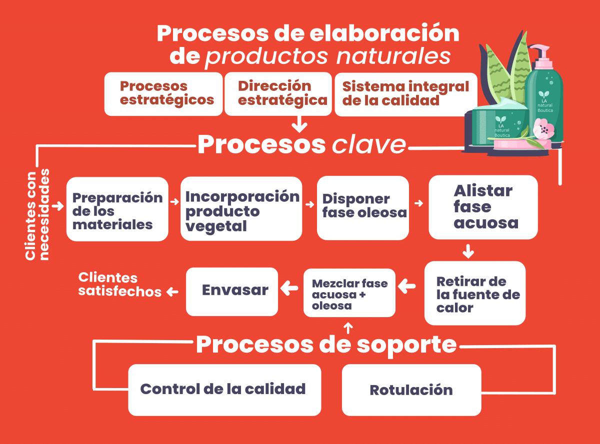Ejemplo del mapa del proceso de elaboración de productos naturales