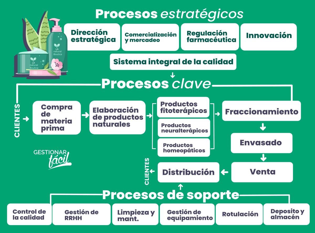 Procesos principales, de apoyo y estratégicos en una botica naturista