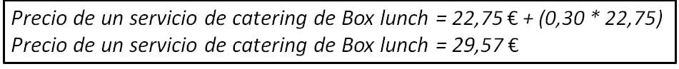 Precio de un servicio de Box lunch.