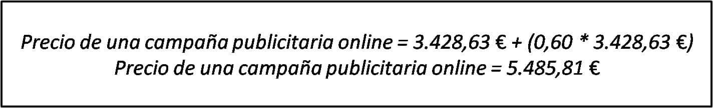 Precio de una campaña publicitaria online.