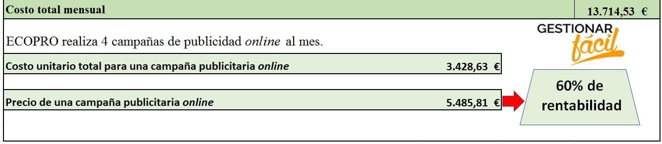 Costo total mensual de las campañas de publicidad online de ECOPRO.