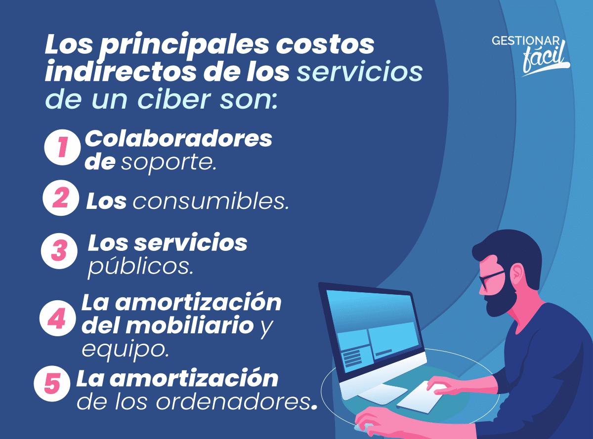 Los principales costos indirectos de los servicios de un ciber son: