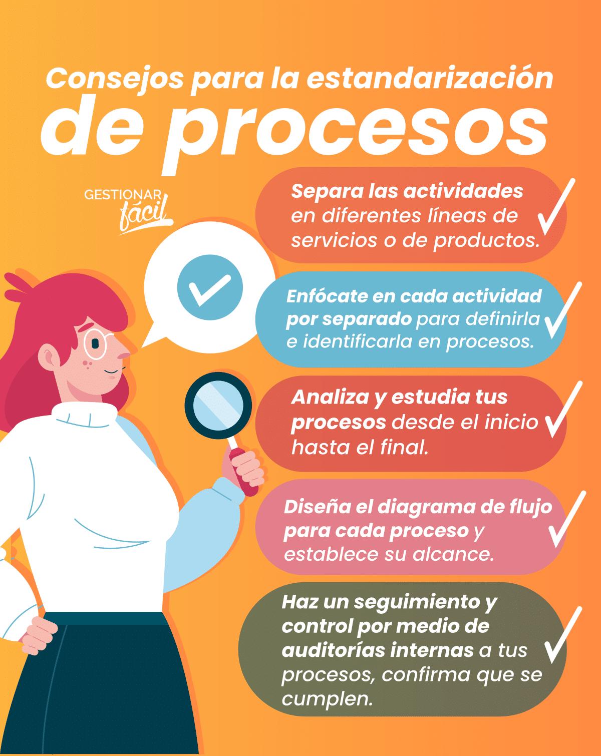 Consejos para la estandarización de procesos.