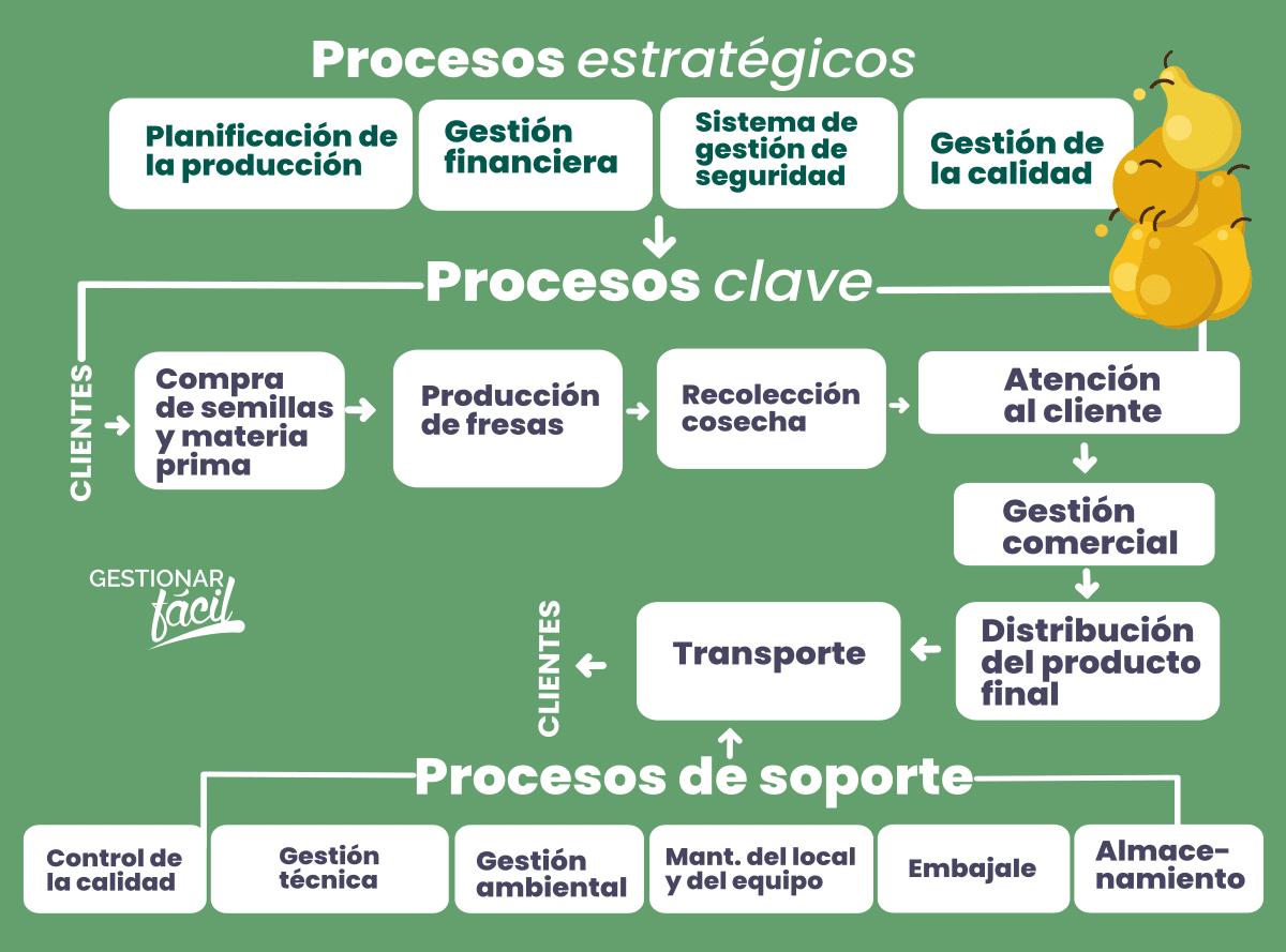 Procesos claves. de apoyo y estratégicos de una comercializadora de frutas