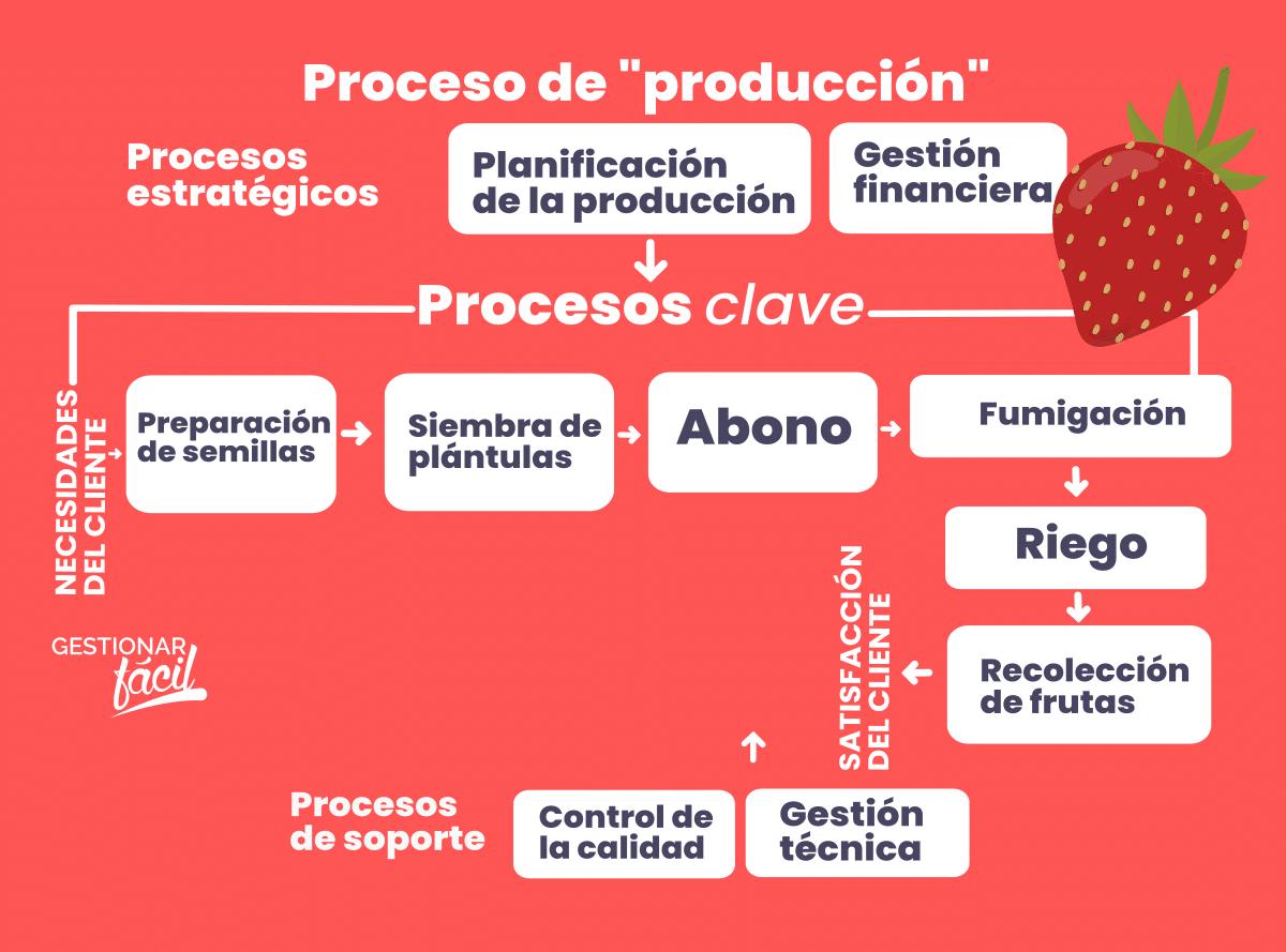 """Ejemplo del mapa de procesos con detalles del procesos de """"producción de fresas"""""""