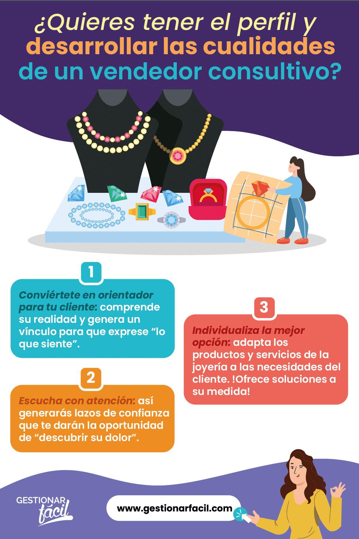 Perfil y cualidades del vendedor consultivo en una joyería.