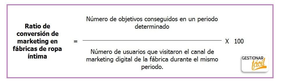Fórmula de la tasa de conversión de marketing en fábricas de ropa interior.