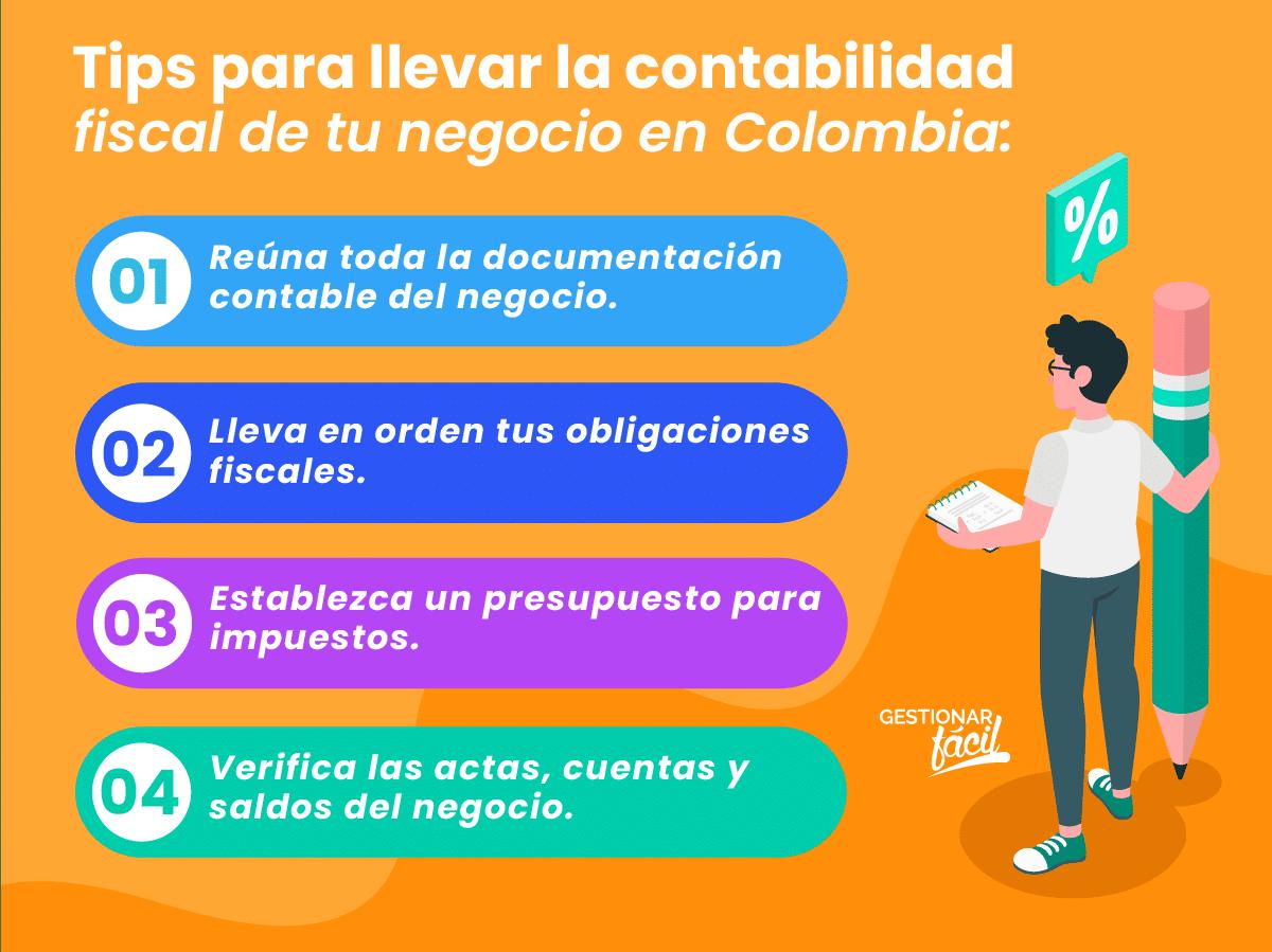 Tips para llevar en orden la contabilidad fiscal de tu negocio en Colombia.