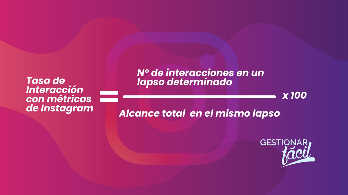 Ecuación de la Tasa de Interacción con métricas de Instagram.