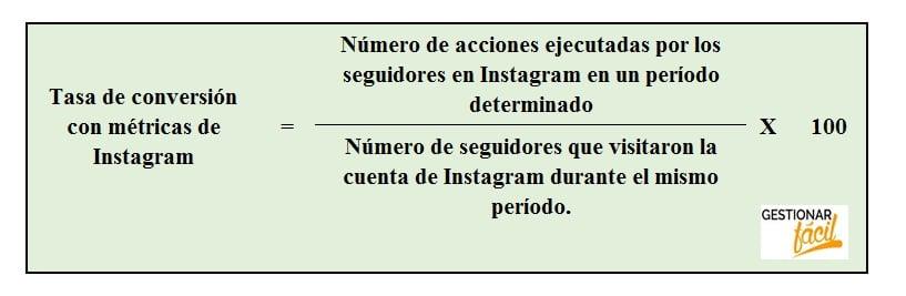 Fórmula de la tasa de conversión con métricas de Instagram.