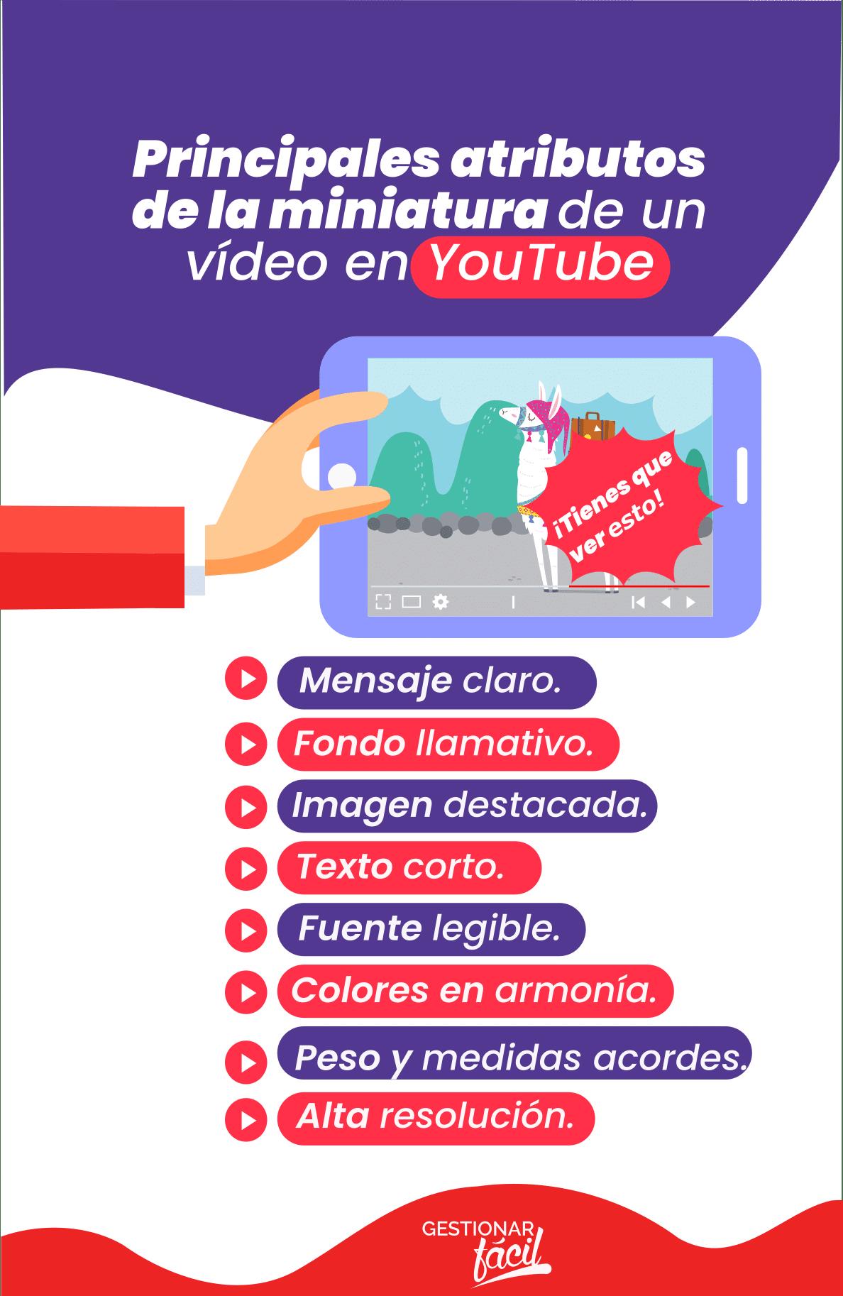 Principales atributos de la miniatura de un vídeo en YouTube
