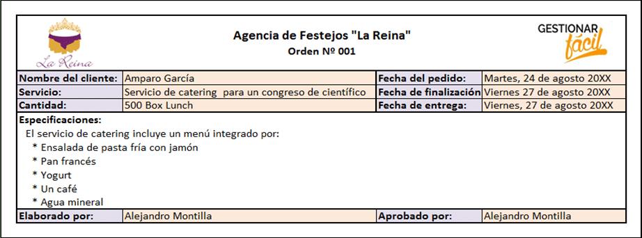 Formato de pedido para una empresa de servicios.
