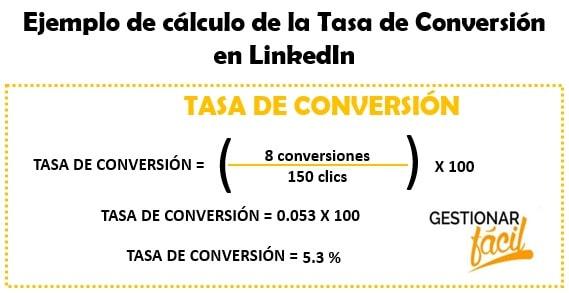 Ejemplo de la Tasa de Conversión en Linkedin KPI para medir si el contenido genera conversiones