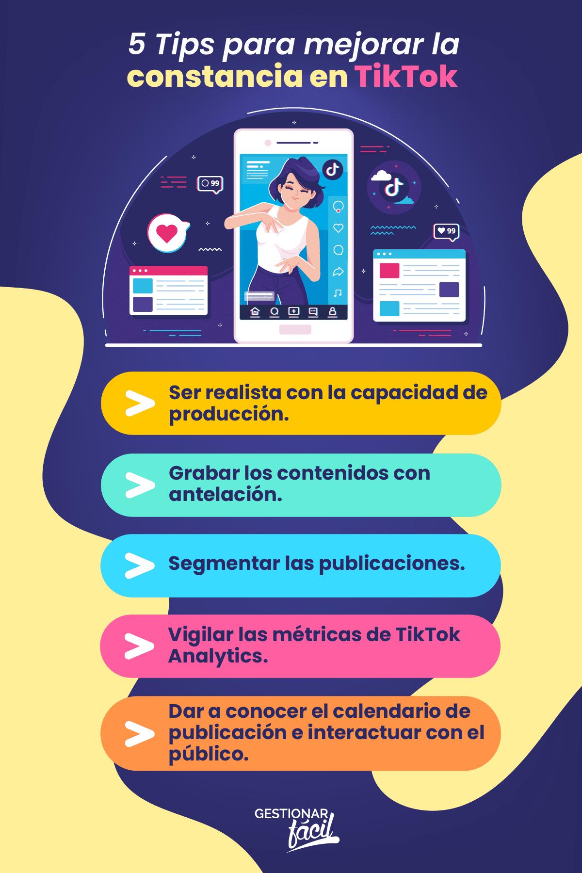 Tips para mejorar la constancia en TikTok.